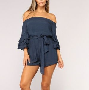 Pants - NWT Navy or Pink Ruffle Romper